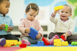 Babies Playing with blocks