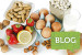 Common food allergies - bread, milk, fruits, nuts, eggs and beans on white background