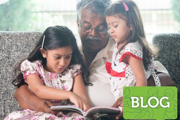 indian_kids_grandpa_reading_book_together_ICON