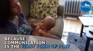 playing with baby at 1 month old by talking