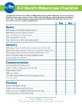 milestone checklist 0-3 months