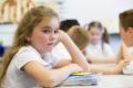 Girl at school desk